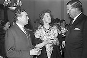 08/04/1963<br /> 04/08/1963<br /> 08 April 1963<br /> W.D. & H.O. Wills Reception for Mr John Ware at the Shelbourne Hotel, Dublin. Reception held on the departure of Mr. Ware and for his successor Mr. Mott. Picture shows (l-r): Mr Ware; Mrs Mott and Mr D.R. Mott the new General Manager of W.D. & H.O. Wills Ireland. Mr Ware was about to go to Bristol to take up the job of Assistant to W.S.J. Carter who was succeeding to the post of Managing Director of the Firm. Mr Mott was about to become Manager of the company in Ireland on Mr Wares departure.