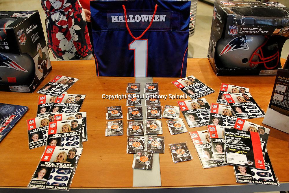 Team licensed merchandise is on display at the team store prior to the New England Patriots NFL regular season week 3 football game against the Buffalo Bills on September 26, 2010 in Foxborough, Massachusetts. The Patriots won the game 38-30. (©Paul Anthony Spinelli)