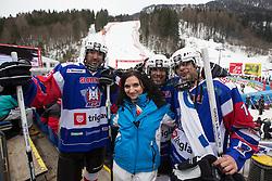 Hockey players during the 1st Run of Men's Giant Slalom - Pokal Vitranc 2013 of FIS Alpine Ski World Cup 2012/2013, on March 9, 2013 in Vitranc, Kranjska Gora, Slovenia.  (Photo By Vid Ponikvar / Sportida.com)