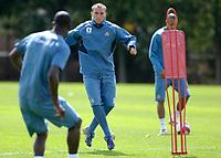 Photo: Daniel Hambury.<br />West Ham United Media Day. 10/08/2006.<br />England hopeful Dean Ashton during training.