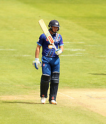 Gloucestershire's Geraint Jones raises his bat after reaching fifty - Mandatory by-line: Robbie Stephenson/JMP - 07966386802 - 04/08/2015 - SPORT - CRICKET - Bristol,England - County Ground - Gloucestershire v Durham - Royal London One-Day Cup