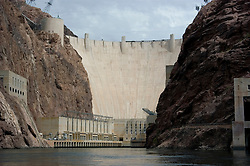 Hoover Dam on border of Arizona, AZ, Nevada, NV, flood control, drinking water source, Colorado River, image nv407-18640.Photo copyright: Lee Foster, www.fostertravel.com, lee@fostertravel.com, 510-549-2202