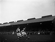 17/03/1960<br /> 03/17/1960<br /> 17 March 1960<br /> Soccer: League of Ireland v Hessen Football Association at Dalymount Park, Dublin. <br /> Irish centre-forward, Hamilton dribbles past Sattler (5) Hessian centre-half, in this encounter near the Hessian goal.