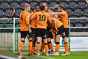Hull City celebrate goal scored by Hull City player Mallik Wilks (43) to go 2-1 during the EFL Sky Bet Championship match between Hull City and Middlesbrough at the KCOM Stadium, Kingston upon Hull, England on 2 July 2020.