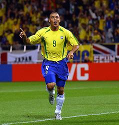Ronaldo celebrates scoring the winning goal against Turkey. Brazil v Turkey, World Cup Semi-Final, Saitama Stadium, Japan , 26/06/02 (1-0)