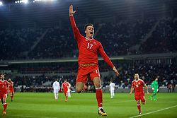 TBILSI, GEORGIA - Friday, October 6, 2017: Wales' Tom Lawrence celebrates scoring the first goal during the 2018 FIFA World Cup Qualifying Group D match between Georgia and Wales at the Boris Paichadze Dinamo Arena. (Pic by David Rawcliffe/Propaganda)