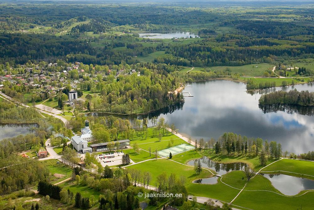 Aerial View of Holy Lake ( Pühajärv) Landscape , Valga County, Estonia