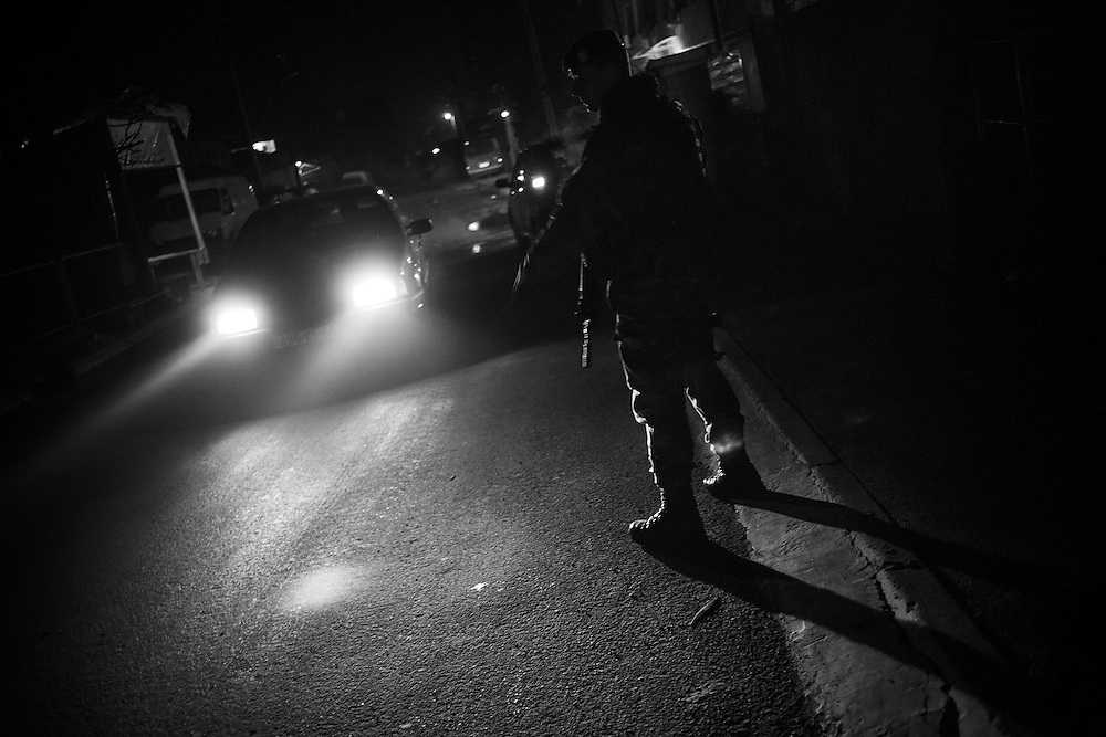 French KFOR troops patrol Mitrovica at night