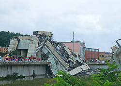 Italy, Genoa- August 14, 2018.A highway bridge  has partially collapsed, prompting fears of injuries and deaths. (Credit Image: © Arata/Fotogramma/Ropi via ZUMA Press)
