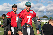 Philadelphia Eagles Nate Sudfeld QB (7) and Philadelphia Eagles Nick Foles QB (9) during the press, training and media day for Philadephia Eagles at London Irish Training Ground, Hazelwood Centre, United Kingdom on 26 October 2018. Picture by Jason Brown.