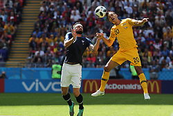 June 16, 2018 - Kazan, Kazan, Russia - France's forward Olivier Giroud (C) vies for the ball with Australia's defender Trent Sainsbury (R) during the 2018 FIFA World Cup Russia group C match between France and Australia at Kazan Arena on June 16, 2018 in Kazan, Russia. (Credit Image: © Mehdi Taamallah/NurPhoto via ZUMA Press)