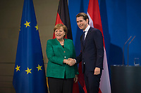 DEU, Deutschland, Germany, Berlin, 17.01.2018: Bundeskanzlerin Dr. Angela Merkel (CDU) und der Bundeskanzler von Österreich, Sebastian Kurz, bei einer Pressekonferenz im Bundeskanzleramt.