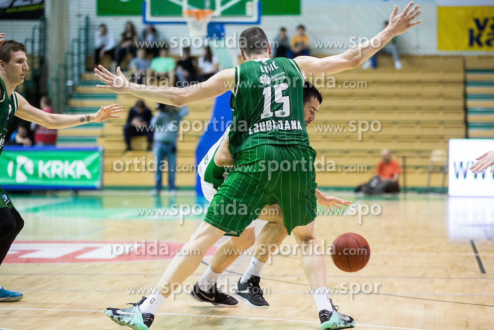 Stefan Sinovec #5 of Krka vs Sava Lesic #15 of KK Union Olimpija Ljubljana during basketball match between KK Krka and KK Union Olimpija Ljubljana in 5th Round of Nova KBM Champions League 2015/16, on April 13, 2016 in Sports hall Leon Stukel, Novo mesto, Slovenia. Photo by Vid Ponikvar / Sportida