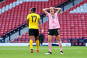 Lisa Evans (#11) of Scotland reacts after missing an opportunity to score during the International Friendly match between Scotland Women and Jamaica Women at Hampden Park, Glasgow, United Kingdom on 28 May 2019.