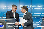 Tripartie Social Summit -- From left Valdis Dombrovskis, EU-Commissioner for Euro & Social Dialogue, and Markus J. Beyrer, Secretary General for Businesseurope. Photo: Erik Luntang