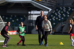February 27, 2019 - Belfast, United Kingdom - Image licensed to i-Images Picture Agency. 27/02/2019. Belfast , Northern Ireland, United Kingdom. The Duke and Duchess of Cambridge playing ball games  with children at  the Irish Football Association at  Windsor Park in Belfast,  on the first day of their two day trip to Northern Ireland. Pic: i-Images/ Pool (Credit Image: © i-Images via ZUMA Press)