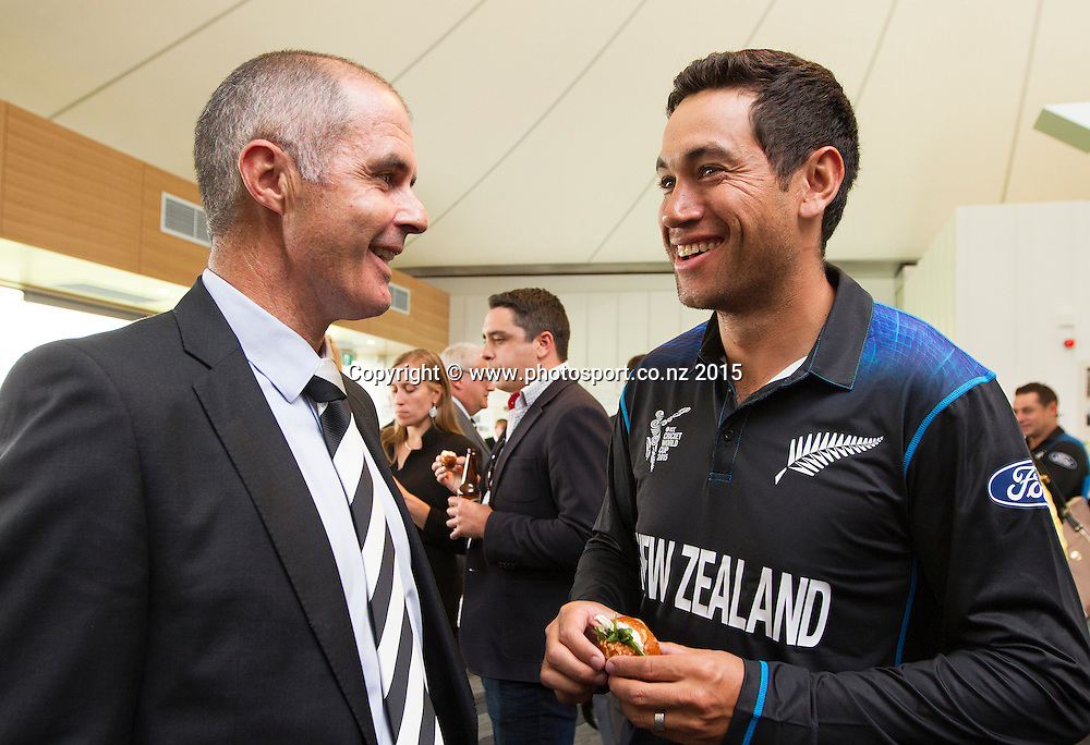 Bruce Edgar, National Selection Manager and Ross Taylor following the Black Caps Cricket World Cup team naming held in the Hagley Pavillion in Christchurch. 8 January 2015 Photo: Joseph Johnson / www.photosport.co.nz