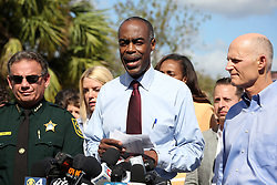 Broward County Schools Superintendent Robert Runcie speaks during a news conference on Thursday, February 15, 2018, near Marjory Stoneman Douglas High School in Parkland where where 17 people were killed Wednesday. Photo by Amy Beth Bennett/Sun Sentinel/TNS/ABACAPRESS.COM