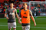 Luke Shaw (23) of Manchester United warming up before the Premier League match between Bournemouth and Manchester United at the Vitality Stadium, Bournemouth, England on 18 April 2018. Picture by Graham Hunt.