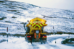 © Licensed to London News Pictures. 14/12/2017. Simonstone UK. Gritters are out this morning treating the roads around Simonstone in the Yorkshire Dales after a night of snowfall. Photo credit: Andrew McCaren/LNP