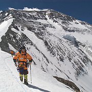 Jesse Rickert on Everest's North Ridge between Camps I and II, Tibet.