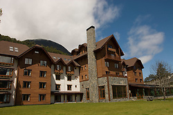 Chile, Lake Country: Hotel Natura in Peulla, scene of fine dining and luxury lodging..Photo #: ch663-33293..Photo copyright Lee Foster www.fostertravel.com, lee@fostertravel.com, 510-549-2202.