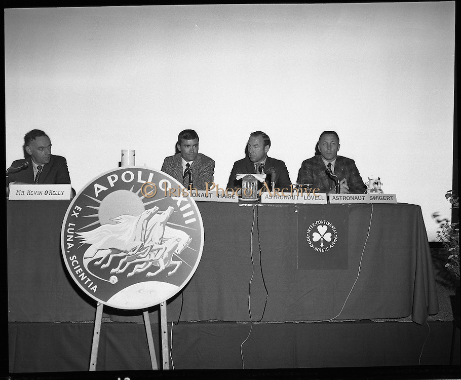 American Astronauts visit Dublin.<br /> 1970.<br /> 13.10.1970.<br /> 10.13.1970.<br /> 13th October 1970.<br /> The Astronauts of the Apollo 13 moon mission visited Ireland as part of a European tour. James Lovell, John Swigert and Fred Haise were on a planned landing on the lunar surface ,when two day after blast off on 11 April 1970 an explosion aboard the craft resulted in one of the most amazing missions in the Apollo series. The explosion placed the crew in severe danger and it was only through much skill and courage that the astronauts managed to make emergency repairs to enable them to return home. Up until they returned on 17th April the world held its breath as the astronauts fought their way back to Earth.<br /> <br /> Pictured during the press conference at the Intercontinental Hotel, Commander Lovell leads the question and answer session. included in the picture is Kevin O'Kelly of RTE. In front is the Apollo 13 flight insignia.