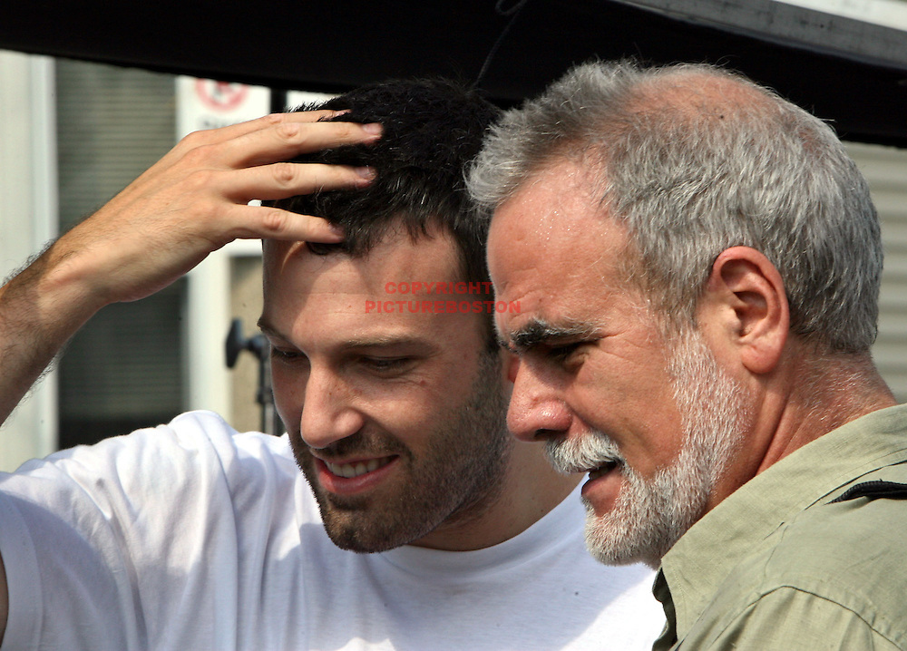 """(08/05/06-Dorchester,MA) """"It's a Wrap"""".... Ben Affleck called a press conference to thank the Boston area today as his film """"Gone Baby Gone"""" ended shooting today near Edward Everett Square (Pond street)ED NOTE  HERE< Ben is visted on the set by his mentor, Cambridge Rindge and Latin Drama Teacher Gerry Speca..(080506affleckmg-Staff Photo:Mark Garfinkel.saved phto6/Sun)"""