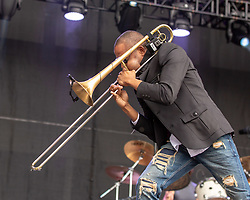 May 25, 2018 - Napa, California, U.S - TROY ANDREWS of Trombone Shorty and Orleans Avenue during BottleRock Music Festival at Napa Valley Expo in Napa, California (Credit Image: © Daniel DeSlover via ZUMA Wire)