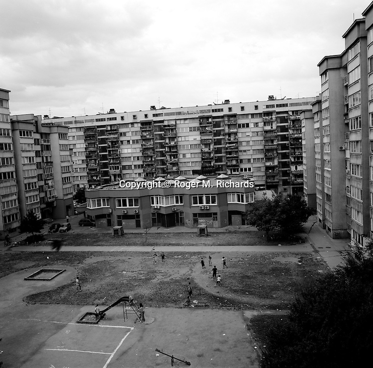 Apartment building courtyard and playground, Sarajevo, July 2008.