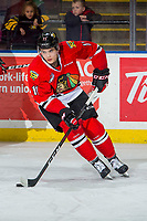 KELOWNA, BC - MARCH 02:  Robbie Fromm-Delorme #11 of the Portland Winterhawks warms up with the puck against the Kelowna Rockets  at Prospera Place on March 2, 2019 in Kelowna, Canada. (Photo by Marissa Baecker/Getty Images)