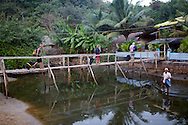 Wooden bridge which leads into one of the many beach hostels at Om beach.<br /> <br /> There are four beaches in Gokarna, of which Om beach is the most famous. It's a great place to unwind and an ideal stop-over.( A much better alternative to the hippie beaches in Goa).