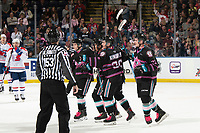 KELOWNA, BC - SEPTEMBER 21:  Jake Lee #21, Liam Kindree #26 and Pavel Novak #11 of the Kelowna Rockets celebrate a goal against the Spokane Chiefs at Prospera Place on September 21, 2019 in Kelowna, Canada. (Photo by Marissa Baecker/Shoot the Breeze)