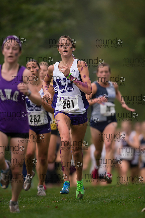 Katie Bell of Western Mustangs runs in the women's 5K Run at the 2013 Western International Cross country meet in London Ontario, Saturday,  September 21, 2013.<br /> Mundo Sport Images/ Geoff Robins