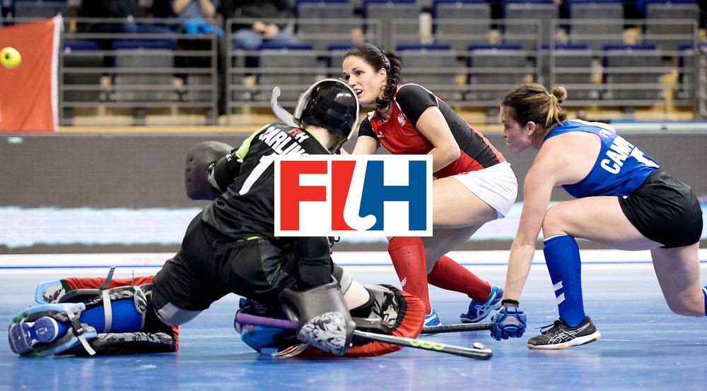 BERLIN - Indoor Hockey World Cup<br /> Women: Poland - USA<br /> foto: WALASEK Oriana.<br /> WORLDSPORTPICS COPYRIGHT FRANK UIJLENBROEK