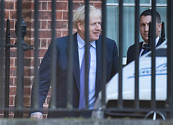 © Licensed to London News Pictures. 17/10/2019. London, UK. Prime Minister Boris Johnson smiles as leaves Downing Street by the back door. Mr Johnson is expected to travel to Brussels tho finalise a new Brexit deal today. Photo credit: Peter Macdiarmid/LNP