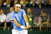 Juan Martin del Potro of Argentina in action the Davis Cup Semi Final between Great Britain and Argentina at the Emirates Arena, Glasgow, United Kingdom on 16 September 2016. Photo by Craig Doyle.
