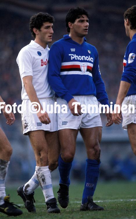 15.12.1985.Giuseppe Lorenzo (US Sampdoria) v Ciro Ferrara (SSC Napoli).©Juha Tamminen