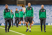 (LtoR) Marko Vesovic (#29), Sandro Kulenovic (#99) and Domagoj Antolic (#7) of Legia Warsaw on the pitch before the Europa League Play Off leg 2 of 2 match between Rangers FC and Legia Warsaw at Ibrox Stadium, Glasgow, Scotland on 29 August 2019.