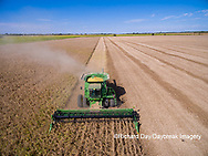 63801-09211 Soybean Harvest, John Deere combine harvesting soybeans - aerial - Marion Co. IL