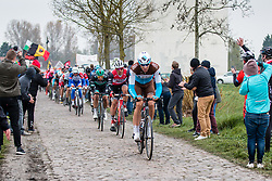 Peloton on sector 17 during the 2019 Paris-Roubaix (1.UWT) with 257 km racing from Compi&egrave;gne to Roubaix, France. 14th april 2019. Picture: Pim Nijland | Peloton Photos  <br /> <br /> All photos usage must carry mandatory copyright credit (Peloton Photos | Pim Nijland)