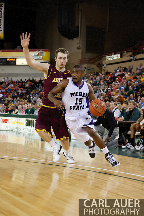 November 26th, 2010:  Anchorage, Alaska - Lindsey Hughey (15), a senior guard for Weber State drives in the Wildcats 58-59 loss to Arizona State at the Great Alaska Shootout.