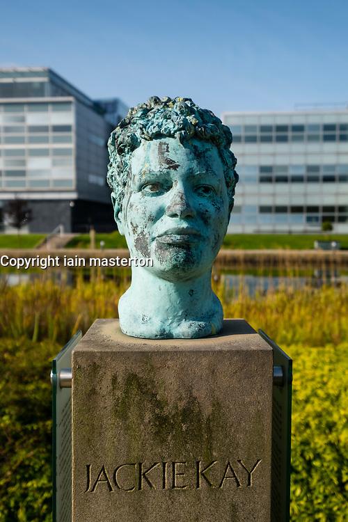 Bust of Scottish poet and novelist Jackie Kay at Edinburgh Park a modern business park at South Gyle in Edinburgh, Scotland, United Kingdom.
