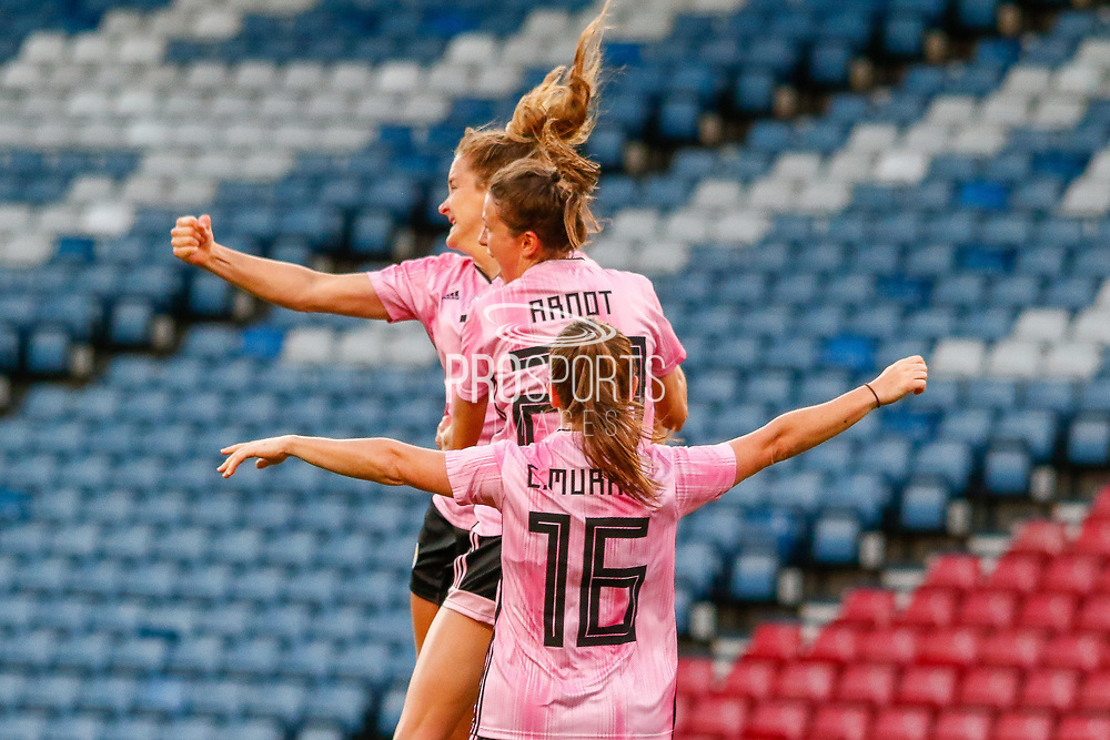 GOAL! Scotland take the lead through a Sophie HOWARD (Reading FCW (ENG)) header during the International Friendly match between Scotland Women and Jamaica Women at Hampden Park, Glasgow, United Kingdom on 28 May 2019.