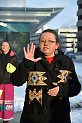 Kiniwdewiwnkwe Beth Cook, an organizer for the Colten Boushie prayer rally, speaks on 13 February 2018 to about fifty people assembled in front of a courthouse in downtown Windsor, Ontario, Canada.