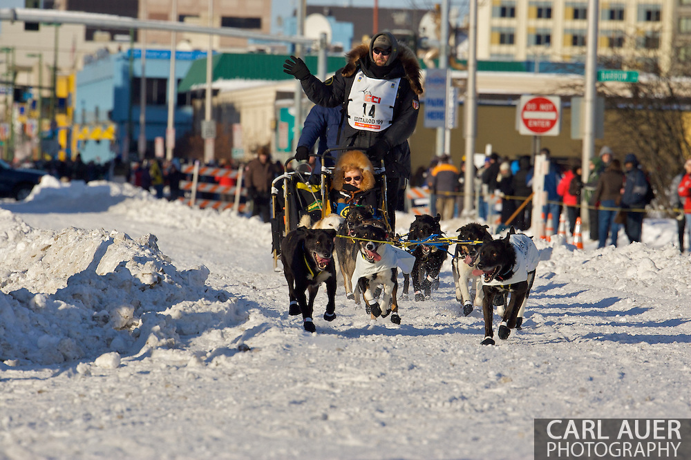 March 7th, 2009:  Anchorage, Alaska: Gerry Willomitzer of Whitehorse, Yukon, Canada at the start of the 2009 Iditarod race.