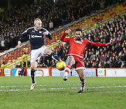 Dundee&rsquo;s Nicky Low and Aberdeen&rsquo;s Shaleum Logan battle for the ball - Aberdeen v Dundee, Ladbrokes Premiership at Pittodrie<br /> <br />  - &copy; David Young - www.davidyoungphoto.co.uk - email: davidyoungphoto@gmail.com