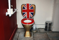 Patriotic loo in a roadside cafe, North Island, New Zealand. Kiwis are generally very pro-British as exemplified by the sanitary ware in this lavatory. 201004175449.<br /> <br /> Copyright Image from Victor Patterson, 54 Dorchester Park, <br /> Belfast, UK, BT9 6RJ<br /> <br /> t1: +44 28 9066 1296 (from Rep of Ireland 048 9066 1296)<br /> t2: +44 28 9002 2446 (from Rep of Ireland 048 9002 2446)<br /> m: +44 7802 353836<br /> <br /> e: victorpatterson@me.com<br /> www.victorpatterson.com<br /> <br /> Please see my Terms and Conditions of Use at www.victorpatterson.com. It is IMPORTANT that you familiarise yourself with them.<br /> <br /> Images used on the Internet must be visibly watermarked i.e. © Victor Patterson<br /> within the body of the image and copyright metadata must not be deleted. Images <br /> used on the Internet have a size restriction of 4kbs and will be chargeable at current<br />  NUJ rates unless agreed otherwise.<br /> <br /> This image is only available for the use of the download recipient i.e. television station, newspaper, magazine, book publisher, etc, and must not be passed on to any third <br /> party. It is also downloaded on condition that each and every usage is notified within 7 days to victorpatterson@me.com<br /> <br /> The right of Victor Patterson to be identified as the author is asserted in accordance with The Copyright Designs And Patents Act (1988). All moral rights are asserted.