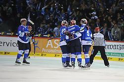17.10.2014, Helios Arena, Schwenningen, GER, DEL, Schwenninger Wild Wings vs Krefeld Pinguine, 11. Runde, im Bild Torjubel bei (v.l.n.r.) Ryan Ramsay (Schwenninger Wild Wings) Sascha Goc (Schwenninger Wild Wings) Ryan Caldwell (Schwenninger Wild Wings) // during Germans DEL Icehockey League 11th round match between Schwenninger Wild Wings and Krefeld Pinguine at the Helios Arena in Schwenningen, Germany on 2014/10/17. EXPA Pictures © 2014, PhotoCredit: EXPA/ Eibner-Pressefoto/ Laegler<br /> <br /> *****ATTENTION - OUT of GER*****