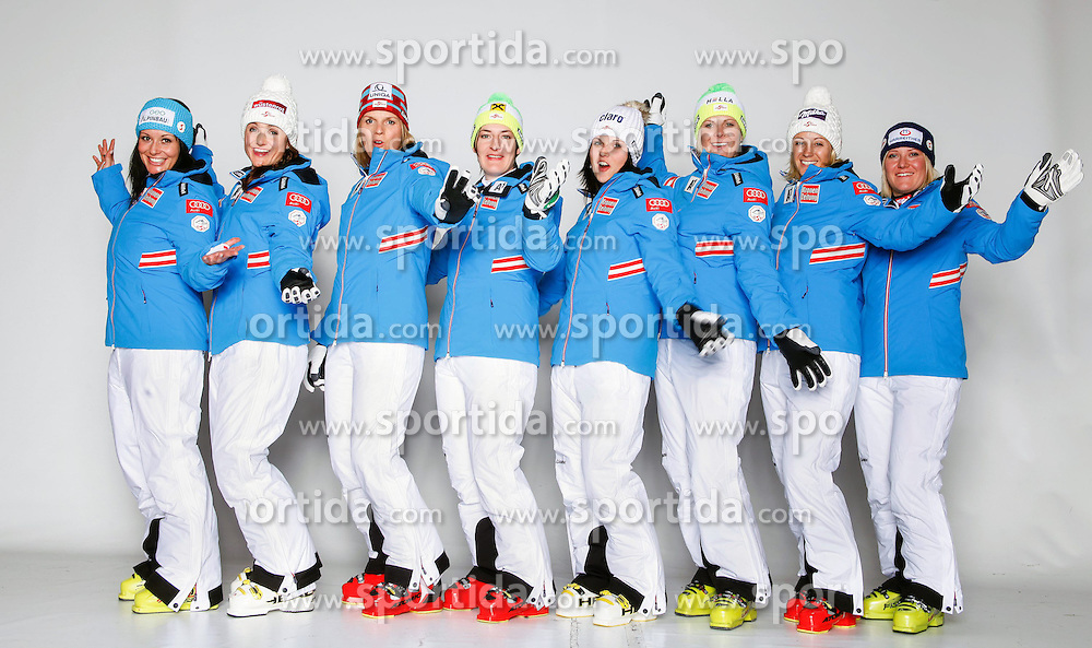20.10.2012, Messehalle, Innsbruck, AUT, OeSV, Ski Alpin, Fototermin, im Bild vl.nr. Stefanie Koehle, Elisabeth Goergl, Marlies Schild, Kathrin Zettel, Anna Fenninger, Nicole Hosp, Michaela Kirchgasser und Andrea Fischbacher // during the official Portrait and Teamshooting of the Austrian Ski Federation (OeSV) at the Messehalle, Innsbruck, Austria on 2012/10/20. EXPA Pictures © 2012, PhotoCredit: EXPA/ OeSV/ Erich Spiess